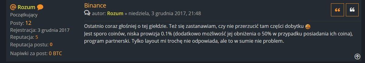 Opinia użytkownika forum.bitcoin.pl - wątek dot. giełdy Binance