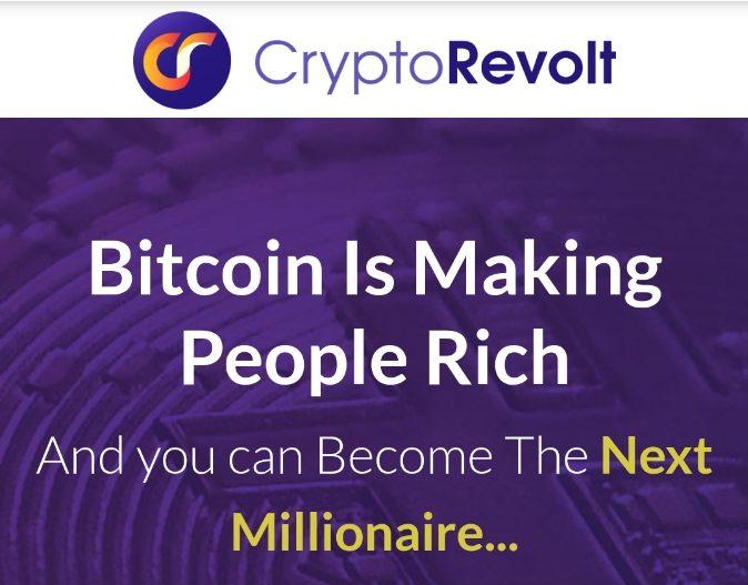 logo crypto revolt biało żółty napis fioletowe tło półprzeźroczysty symbol bitcoin