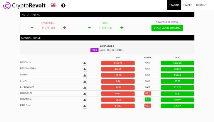 kryptobot interface użytkownika okno wymiany walut kryptowaluty kursy zrzut ekranu