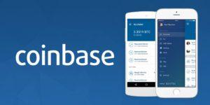 coinbase nazwa giełdy aplikacja mobilna dwa telefony niebiesko biała ilustracja