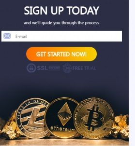 okno rejestracji pole wpisanie adresu e-mail przycisk zacznij teraz granatowe tło białe napisy monety kryptowaluty bitcoin ethereum litecoin