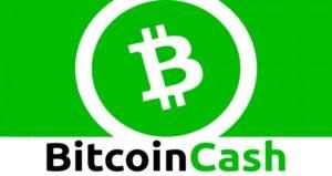 zielone tło logo bitcoin cash środek symbol kryptowaluty czarno zielony napis nazwa dół obrazka