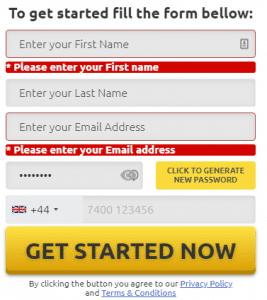 okno rejestracji BTC robot dane osobowe imię nazwisko adres e-mail hasło żółty przycisk zacznij teraz