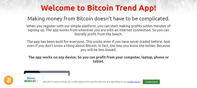 strona powitalna kryptobota korzyści BTC Trend App