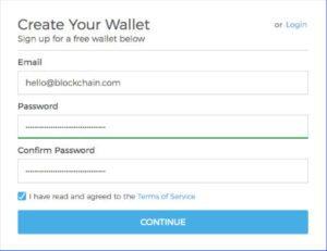 panel logowania portfela blockchain