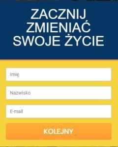 formularz rejestracji granatowo żółto pomarańczowo biały imię nazwisko e-mail pola wymagające uzupełnienia
