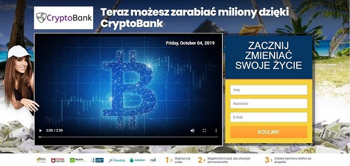 stron główna kryptobota filmik promocyjny modelka formularz rejestracyjny symbol bitcoin ekran