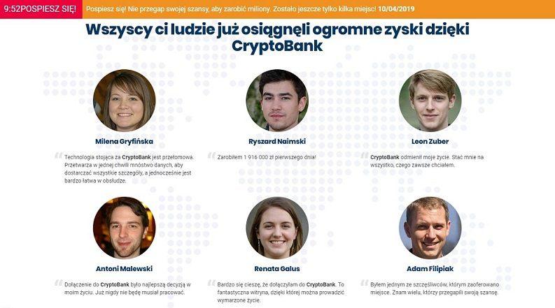 sześć osób inwestorzy zysk cryptobank fotografie podpisy