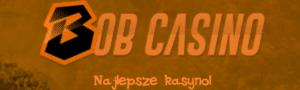 bob casino logo brązowe tło pomarańczowy napis polski czarna litera B