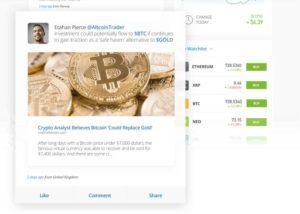 powiadomienia komunikaty transakcje innych użytkowników tablica posty traderów handel społecznościowy