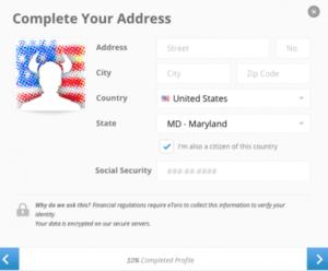 uzupełnienie danych adresowych okno platformy weryfikacja tożsamości inwestora