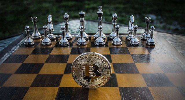 bitcoin szachownica szachy gra kolorowa fotografia