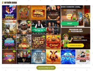 dwadzieścia gier proponowanych przez bob casino