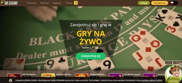strona internetowa kasyno bob tło stół karty przycisk rejestracja