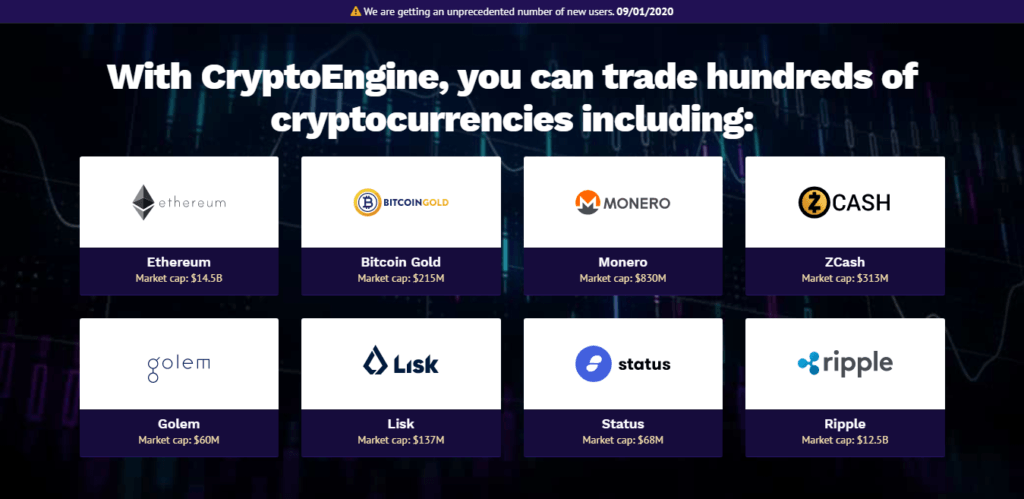 kryptowaluty dostępne Crypto Engine inwestuj kryptomonety zarabiaj