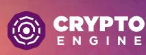crypto engine logo kryptorobota biały napis na różowym tle