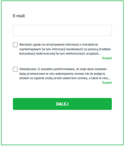 Formularz rejestracji konta XTB