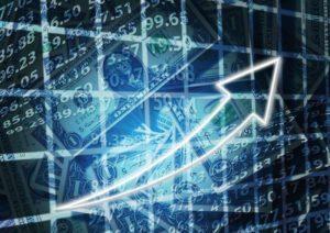 Gra na giełdzie, banknoty, wykres