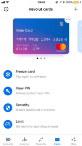Revolut ekran mobilny opcje