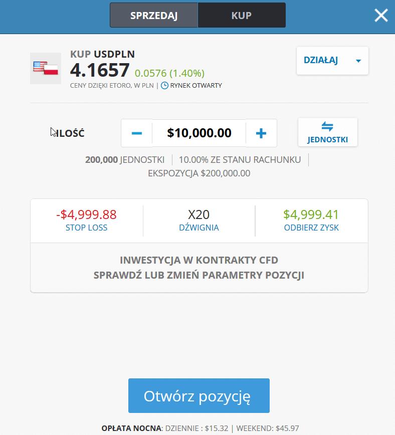 Sprzedaż i kupno walut eToro widok demo