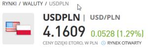 eToro USD-PLN para walutowa kurs
