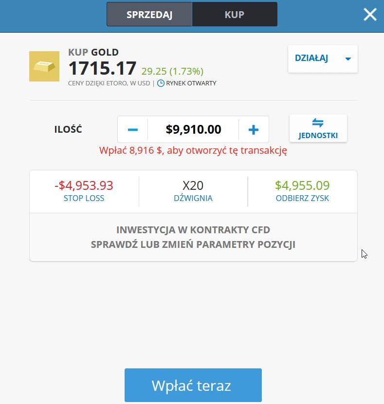 eToro paramtry złoto inwestycje kupno
