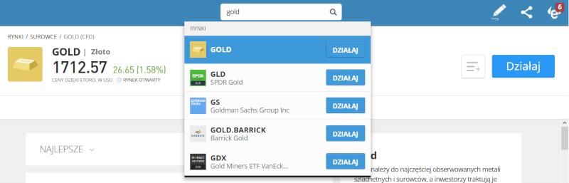 eToro złoto inwestycje Gold