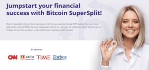 Bitcoin SuperSplit ekran startowy strony internetowej