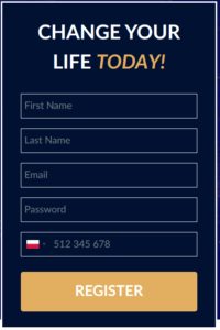 Bitcoin Up formularz rejestracyjny na stronie internetowej