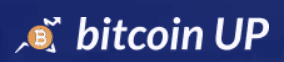 Bitcoin Up logo kolorowe tło