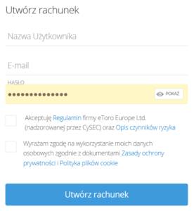 eToro tworzenie rachunku po polsku - rejestracja nowego konta