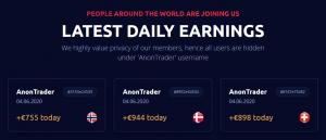 Anon System ostatnie dzienne zyski