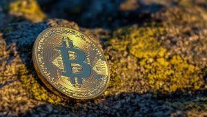 Bitcoin na skałach w słońcu