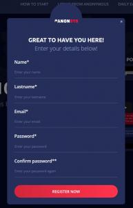 Formularz rejestracji Anon System