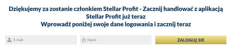 Stellar Profit formularz logowania
