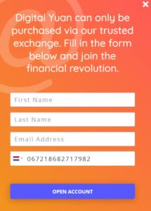 Yuan Pay Group formularz rejestracji konta
