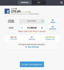 Formularz zakupu akcji Facebook na eToro