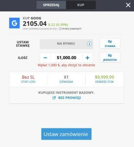 Formularz zakupu akcji na eToro