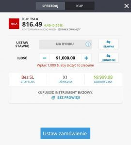 Formularz zakupu akcji Tesla na eToro