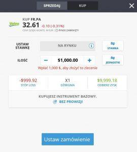 Formularz zakupu akcji Valeo na eToro