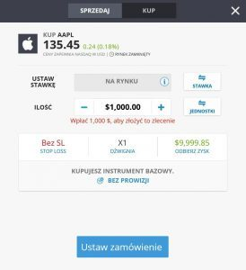 Formularz zakupu akcji Apple na eToro